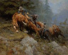 Современный дом украшения картина маслом на холсте , украшения дома стены искусства ( ковбой и черный медведь ) бесплатная доставка