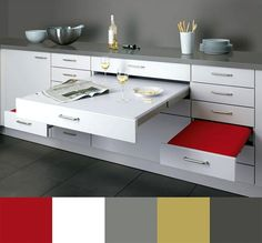 Awesome Kitchen Appliances for Small Spaces with inspiring kitchen : Inspiring Kitchen Marvelous Compact Grey Kitchen With Space Saving Red . Kitchen Furniture, Kitchen Dining, Dining Area, Kitchen Tables, Kitchen Ideas, Kitchen Seating, Dining Rooms, Dining Sets, Furniture Design
