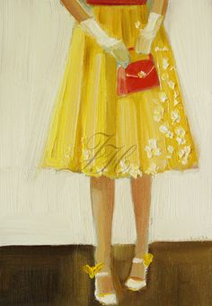 Art - Janet Hill - She Liked To Call Them Her Canary Shoes - yellow, red Janet Hill, Traditional Artwork, Thing 1, Shoe Art, Mellow Yellow, Bright Yellow, Color Yellow, Female Art, Fashion Art