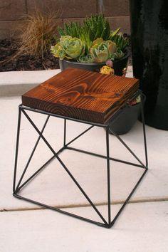 Organic Modern Rustic stool with metal base by MetalMeetsWood, $50.00