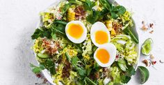 For a quick, hearty dinner, you can't go past this Asian egg and green bean salad. Egg Recipes, Dinner Recipes, Free Recipes, Ginger Green Beans, Rice Porridge, Green Bean Salads, Green Cabbage, Fresh Coriander, Christmas Cooking