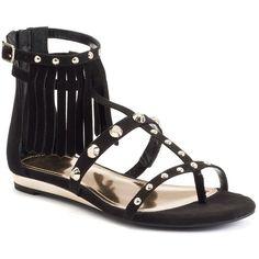 Jennifer Lopez Women's Fringe Gladiator Sandals, Size: 5.5, Black ($40) ❤ liked on Polyvore featuring shoes, sandals, black, open toe sandals, fringe gladiator sandals, fringe sandals, roman sandals and black sandals