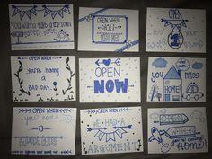 """Open When..."" envelopes & letters #DIY #CarePackages #Bf #Doodles"