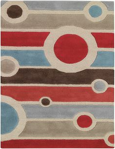 Retro Modern Rugs | Retro Modern Rug With Stripes And Circles