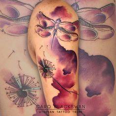 http://tattooideas247.com/dragonfly-dandelion/ Dragonfly & Dandelion Watercolor #CaroBlackswan, #Colorful, #Dandelion, #Dragonfly, #Pretty, #Watercolor