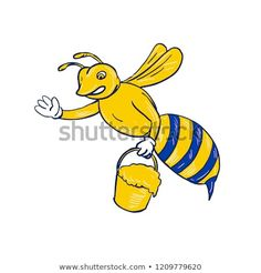Drawing sketch style illustration of a bumblebee or honey bee waving carrying a pail of dripping honey on isolated white background. Bumblebee Drawing, Drawing Sketches, Drawings, Bugs And Insects, Tweety, Pikachu, Disney Characters, Fictional Characters, Royalty Free Stock Photos