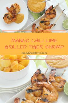 #ad Mango Chili Lime Grilled Tiger Shrimp via JennySheaRawn.com. Silky mangoes blended with zesty lime and chili powder in a sweet, savory and tangy sauce that serves as both a marinade and a dipping sauce for grilled tiger shrimp.  Healthy Seafood | Shrimp Recipes | Grilled Shrimp Recipes | Summer Grilling Recipes | Summer Seafood Recipes | Healthy Shrimp Recipes  #FlavorAdventure @NaturesTouch