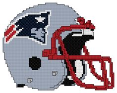 Counted Cross Stitch Pattern, New England Patriots Helmet – The Cross Stitch Guy Pearler Bead Patterns, Perler Patterns, Quilt Patterns, Stitching Patterns, New England Patriots Helmet, New England Patriots Cheerleaders, Perler Beads, Redskins Helmet, Graph Paper Art