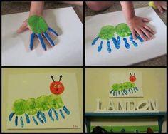Kids finger paint catapiller