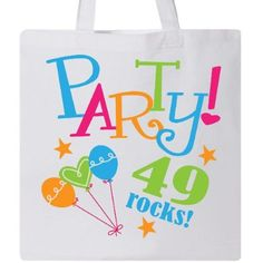 Inktastic 49th Birthday Party Gift Tote Bag 49 Year Old Rocks Cute Colorful Celebrate Celebration Occasions Im Years Turning Idea Reusable Grocery Book Hws