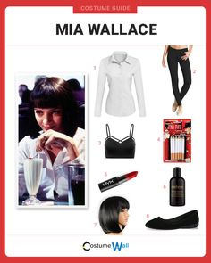 Get the look of Mia Wallace, the crime boss' wife played by Uma Thurman in the 1994 film Pulp Fiction. Get the look of Mia Wallace, the crime boss' wife played by Uma Thurman in the 1994 film Pulp Fiction. 90s Cartoon Costumes, 90s Costume, Cool Costumes, Costumes For Women, 90s Cartoons, Costume Ideas, Disfraz Mia Wallace, Mia Wallace Costume, Uma Thurman Pulp Fiction