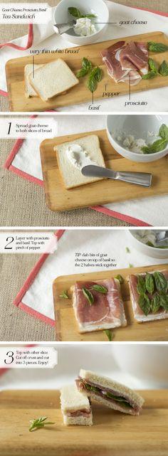 [Tea Sandwich] Goat Cheese, Prosciutto, Basil - Oh, How Civilized