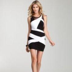 Bebe Black & White Mini Dress WORN ONCE! bebe Dresses