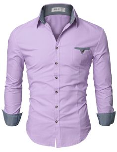 Doublju Mens Casual Shirt with Contrast Neck Band at Amazon Men's Clothing store: Button Down Shirts