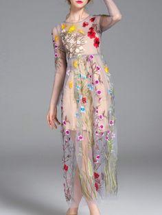 Grey Sheer Gauze Embroidered Maxi Dress