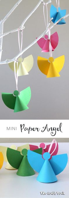 Christmas Crafts : Illustration Description Mini paper angel ornaments, a simple Christmas craft for kids with free printable template Christmas Arts And Crafts, Christmas Origami, Christmas Activities, Christmas Angels, Simple Christmas, Christmas Projects, Kids Christmas, Holiday Crafts, Christmas Decorations