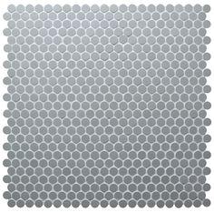 12.7mm Grey Unglazed Penny Round Tile #tiles #mosaic #pennyroundtiles #walltiles #homedecor