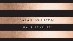 Striped with black and rose gold Hairstylist business cards! Rose Gold Foil…