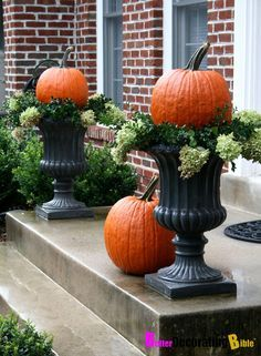 Favorite Fall Planter Ideas Favorite fall planters from stone, ceramic, plastic planters. I love the idea of also using a galvanized bucket or tub filled with Fall mums, cabbage or pumpkins. Porch Urns, Porch Veranda, Fall Mums, Pumpkin Topiary, Halloween Porch Decorations, Pumkin Decoration, Yard Decorations, Fall Planters, Autumn Garden
