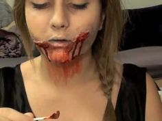 Zombie Makeup - toilet paper and eye lash glue to make wounds