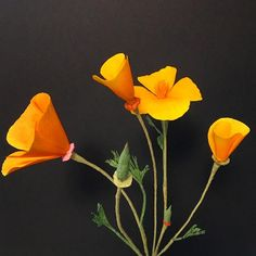 Paper Eschscholzia californica. California poppy. . . . #papercrafts #paperflower #paperflowers #crepepaper #crepepaperflowers #californiapoppy #paperpoppies #crepepaperrevival #paperblooms #dsfloral #dsflorals #rsblooms #larspaperflowers #italiancrepepaper #paperart #paperbotanist #paperbouquet #posygirl