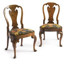 A fine pair of George II burr and figured walnut needlework-upholstered side chairs<br>circa 1730 | Lot | Sotheby's