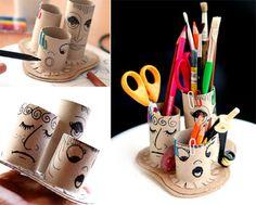 Porta lápis com rolo de papel higiênico