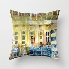 The Old Yankee Stadium Watercolor Throw Pillow by Dorrie Rifkin Watercolors - $20.00