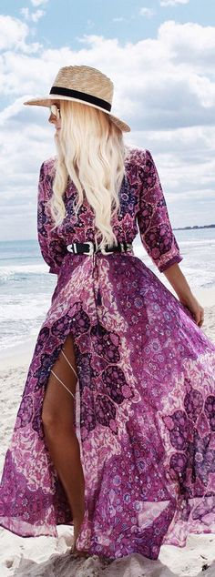 stylish bohemian outfit idea: hat + maxi dress
