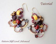 Freeform peyote beading tutorial - beadweaving pattern beaded seed bead jewelry instructions - LOOP de LOOP beadwoven earrings