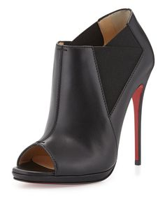 X2PS8 Christian Louboutin Pre- Fall Bootstagram Red Sole Peep-Toe Bootie, Black