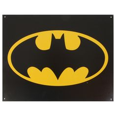 This vintage metal art 'Batman Logo' decorative tin sign measures 16 by 12 inches. This nostalgic tin sign displays a bold version of the Batman logo and comes with pre-punched holes, so it's ready to
