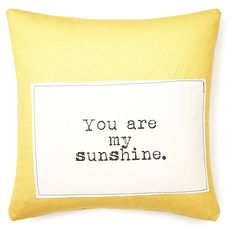 """One Kings Lane - Style Steals - """"My Sunshine"""" 20x20 Pillow, Yellow"""