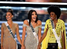 Miss Jamaica (2nd Runner-up), Miss South Africa (Ms Universe 2017) Miss Colombia (1st runner up) at Miss Universe 2017