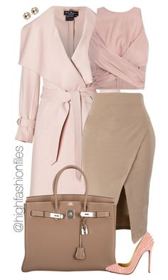 A fashion look from September 2015 by highfashionfiles featuring Zimmermann, Salvatore Ferragamo, Hermès, Oscar de la Renta, Miu Miu и Christian Louboutin Classy Outfits, Stylish Outfits, Fall Outfits, Dress Outfits, Fashion Outfits, Womens Fashion, Pastel Outfit, Beige Outfit, Look Blazer