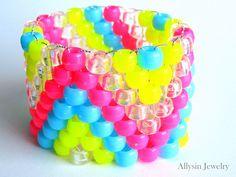 Neon Kandi Cuff Bracelet  by Allysin