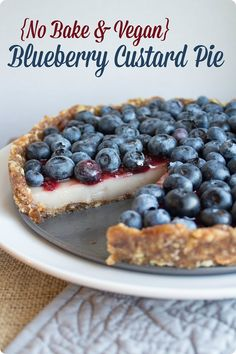 This vegan no bake blueberry pie is gluten free and quick and easy to make, too. Impress your guests - great for summer BBQs!