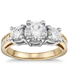 Three Stone Diamond Engagement Ring In 18K Yellow And White Gold   The Diamond Channel