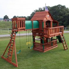 Cedar-Wood-Giant Playground Swing Set Slide Huge Play Clubhouse