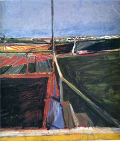 Richard Diebenkorn (American, Bay Area Figurative Movement, View from the Porch, Oil on canvas, × inches × cm). © The Richard Diebenkorn Foundation. Richard Diebenkorn, Contemporary Landscape, Abstract Landscape, Landscape Paintings, Abstract Art, Modern Paintings, Abstract Painters, Tachisme, Wayne Thiebaud