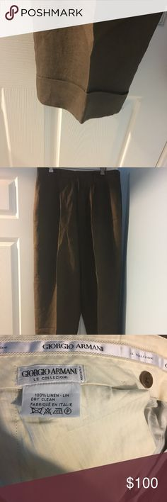 Brown men linen Giorgio Armani Slacks These  brown Men Giorgio Armani linen slacks are in excellent condition, worn once and dry cleaned. Giorgio Armani Pants Dress