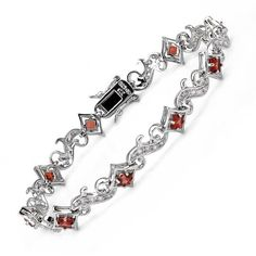 Sterling Silver CTW Cubic Zirconia and CTW Garnet Women Bracelet. Length 7 in. Total Item weight g. Gemstone Bracelets, Garnet, Jewelry Watches, Fine Jewelry, Fashion Jewelry, Bling, Gemstones, Sterling Silver, Design