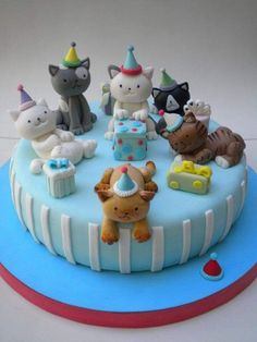 get some yourself some pawtastic adorable cat apparel! Cat Cake Topper, Cake Toppers, Cupcakes, Cupcake Cakes, Vet Cake, Kitten Cake, Birthday Cake For Cat, Happy Birthday, Animal Cakes