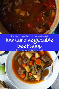 Its a recipe for savory and hearty, low carb vegetable beef soup that is a one bowl meal and will keep your belly warm and full on a cold night! It is Keto, paleo, and compliant. What a great healthy, fall dinner idea! Veg Beef Soup, Low Carb Beef Stew, Beef Soup Recipes, Beef Stew Meat, Paleo Soup, Healthy Soup, Soup Appetizers, Appetizer Recipes, Easter Recipes