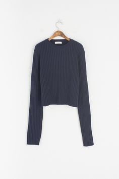 Ribbed Round Neck Jumper, Navy