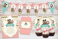 Kit Imprimible Masha y el Oso Decoración Cumpleaños de nena. Candy Bar.