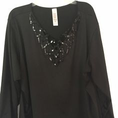 Black dressy blouse with sequined neckline Black dressy blouse with sequined neckline 3x Tops Blouses