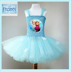 Tutu Dress Disney Inspired - Frozen Blue Elsa & Anna Dress with Printed Picture