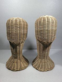 "2X 14"" VINTAGE WICKER HEAD HOLDER WIG GLASS HAT DISPLAY STAND RATTAN NATURAL #Handmade"
