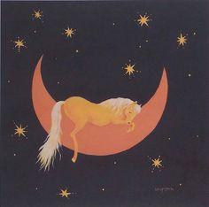 .Horse art Sweet Sleep palomino horse painting print